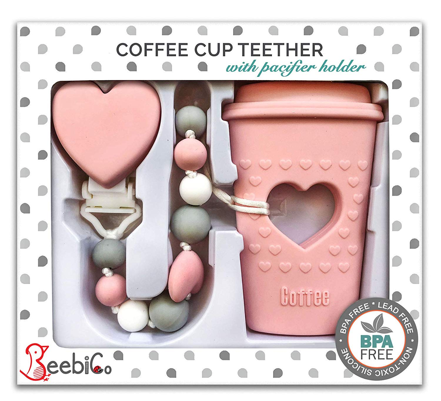 Silicone Teether-Food Grade Teether-Silicone Teething Clip-Pacifier Clip-Pacifier Holder-Coffee Teether-Teether Gift Set