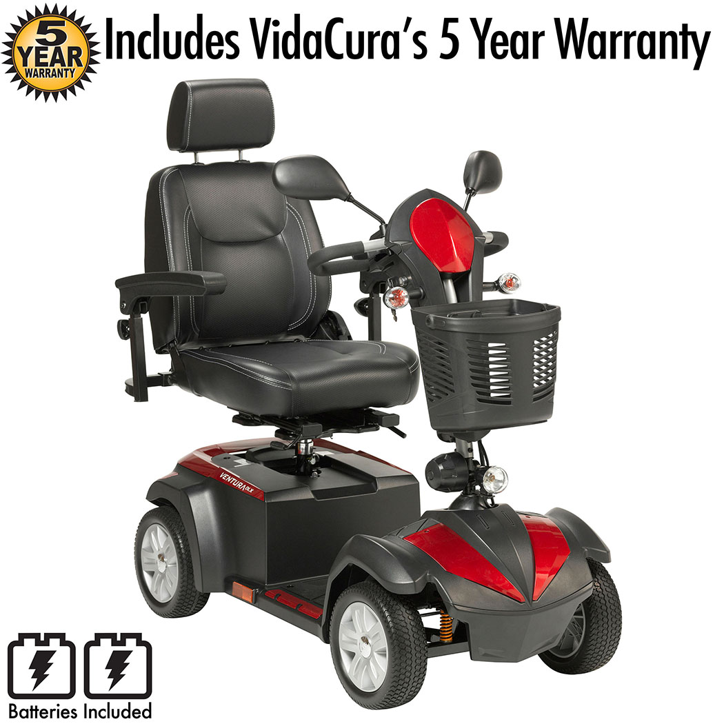 """Drive Medical Ventura DLX 4 Wheel Travel Scooter Including Vidacura's 5 Year Extended Warranty (20"""" Wide Seat)"""
