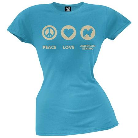 Peace Love American Eskimo Juniors T-Shirt ()