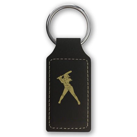 Keychain - Softball Player Woman (Black Rectangle) - Softball Keychains