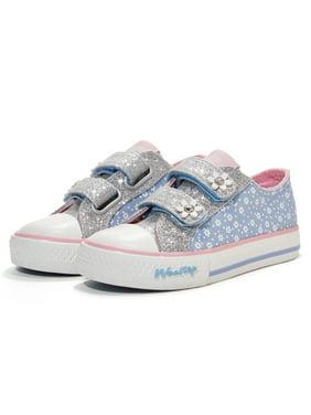 Weestep Toddler Little Kid Girls and Boys School Glitter Hook and Loop Sneaker