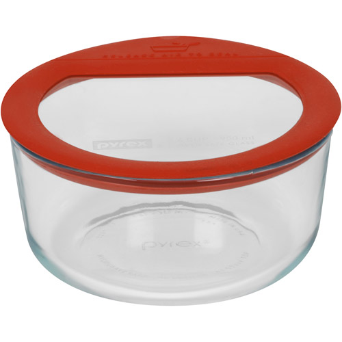 Pyrex No-Leak Glass 4-Cup Round Food Storage Container