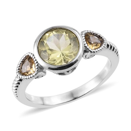 Statement Ring Stainless Steel Lemon Quartz Citrine Gift Jewelry for Women Ct 2.2 Created Citrine Stainless Steel Ring
