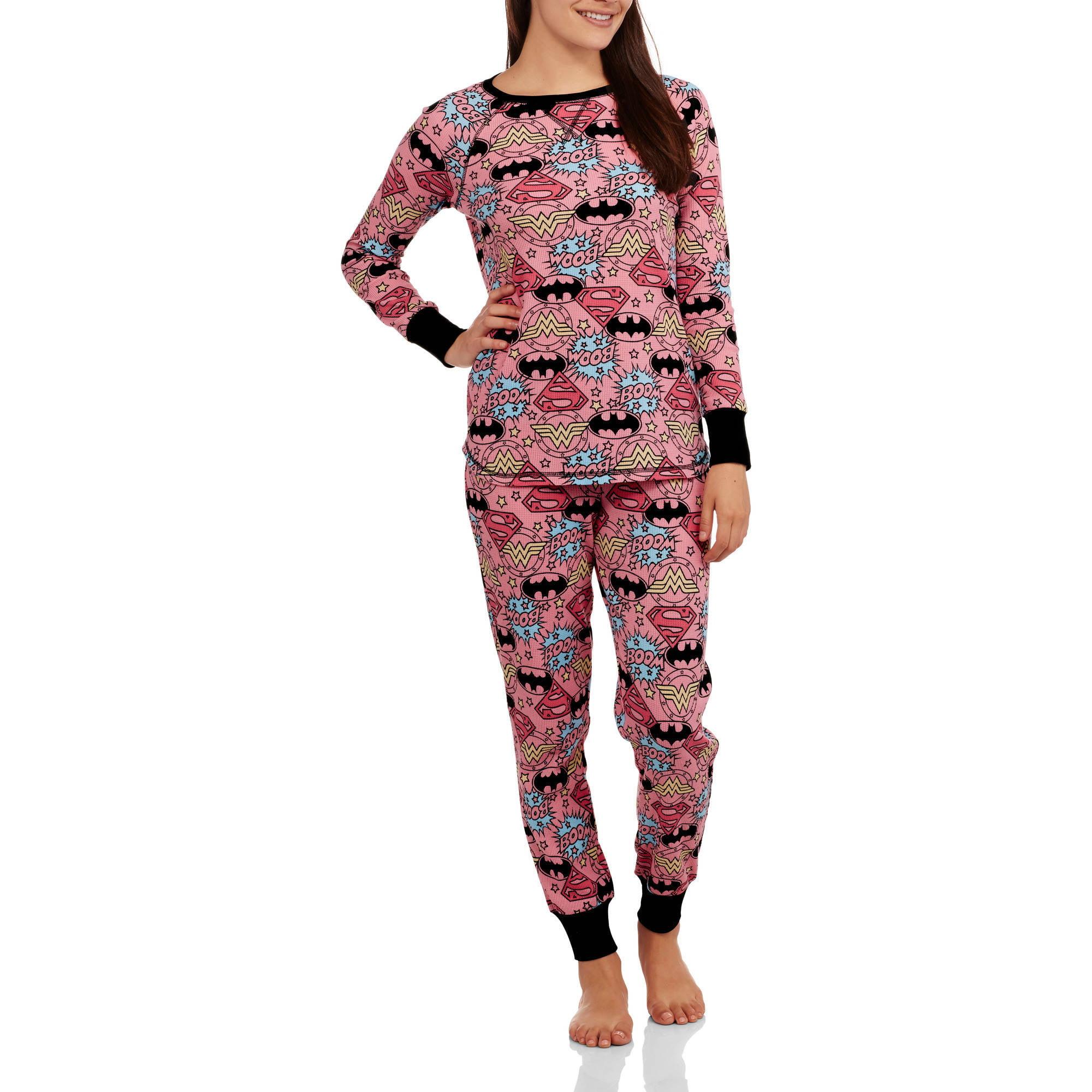 DC Comics Women's License Pajama Thermal Sleep Top and Pant 2 Piece Sleepwear Set