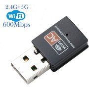 USB WiFi Adapter, 600mbps Dual Band 2.4G/ 5G Wireless Adapter, Mini Wireless Network Card WiFi Dongle for Laptop/Desktop/PC, Support Windows10/8/8.1/7/Vista/XP/2000, Mac OS X 10.6-10.13