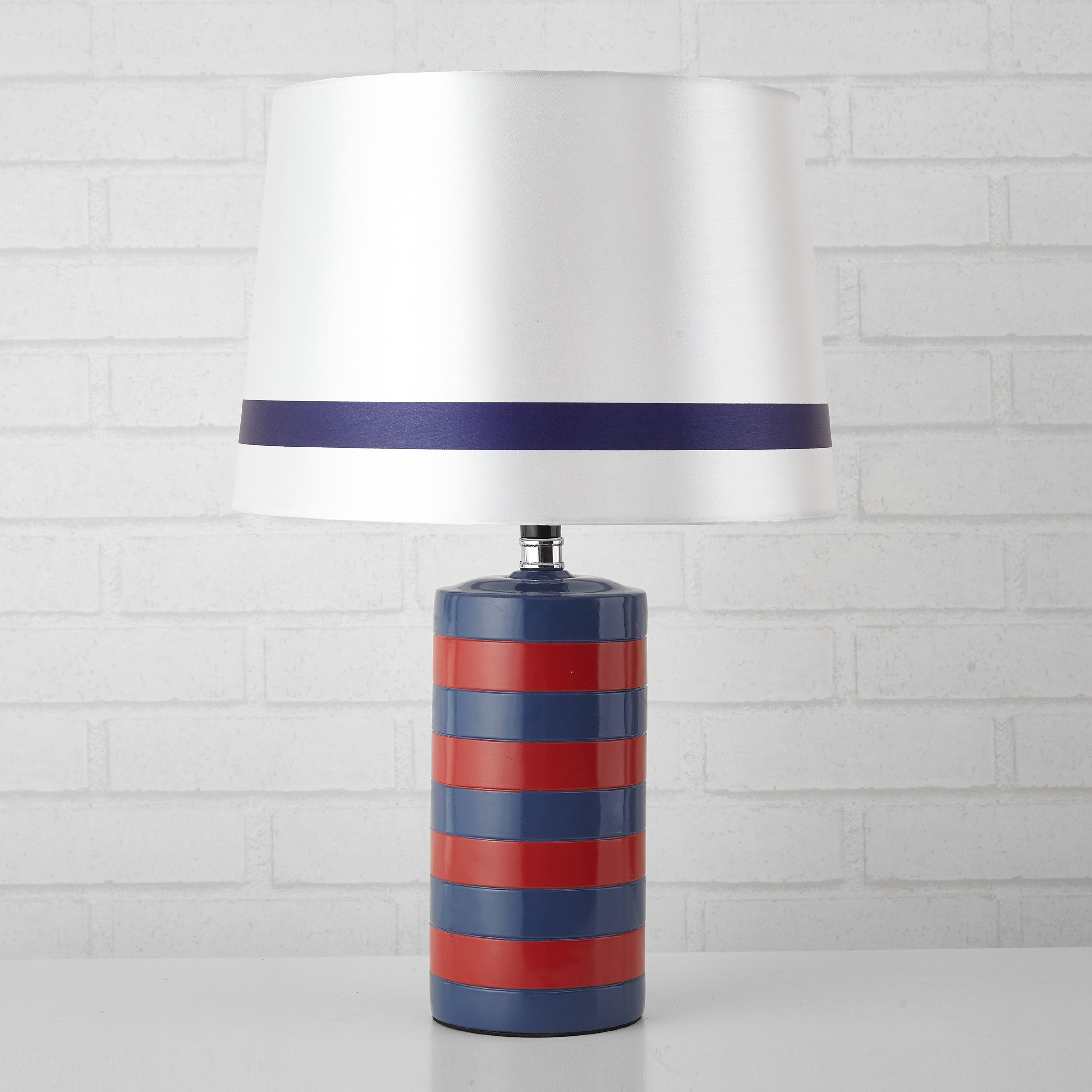 Mainstays Kids Navy Lamp, Red Rugby Stripe Cylinder Lamp, Multiple Colors