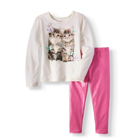 Girls' Long Sleeve Graphic Tee & Shimmer Leggings, 2pc Outfit Set