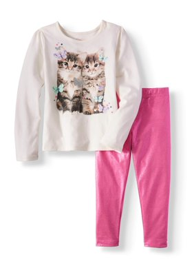 9e197189c7a00 Product Image Girls' Long Sleeve Graphic Tee & Shimmer Leggings, 2pc Outfit  Set