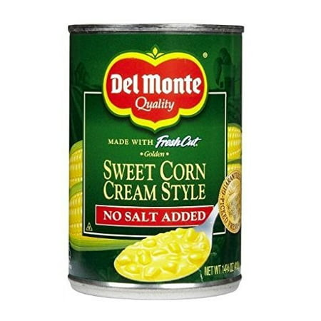 (6 Pack) Del Monte Fresh Cut Golden Sweet Corn Cream Style, No Salt Added, 14.75