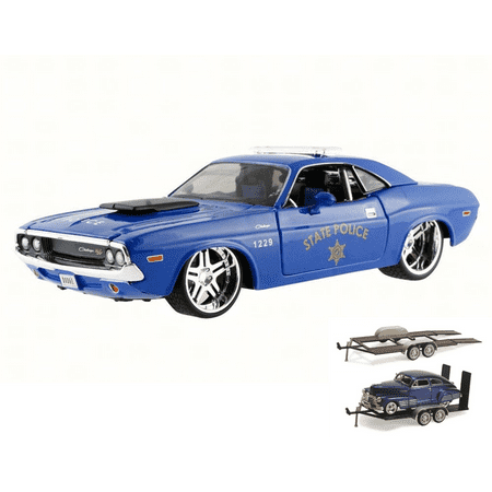 Diecast Car & Trailer Package - 1970 Dodge Challenger R/T Coupe State Police, Blue - Maisto 31129 - 1/24 Scale Diecast Model Toy Car w/Trailer Dodge Diplomat Police Package