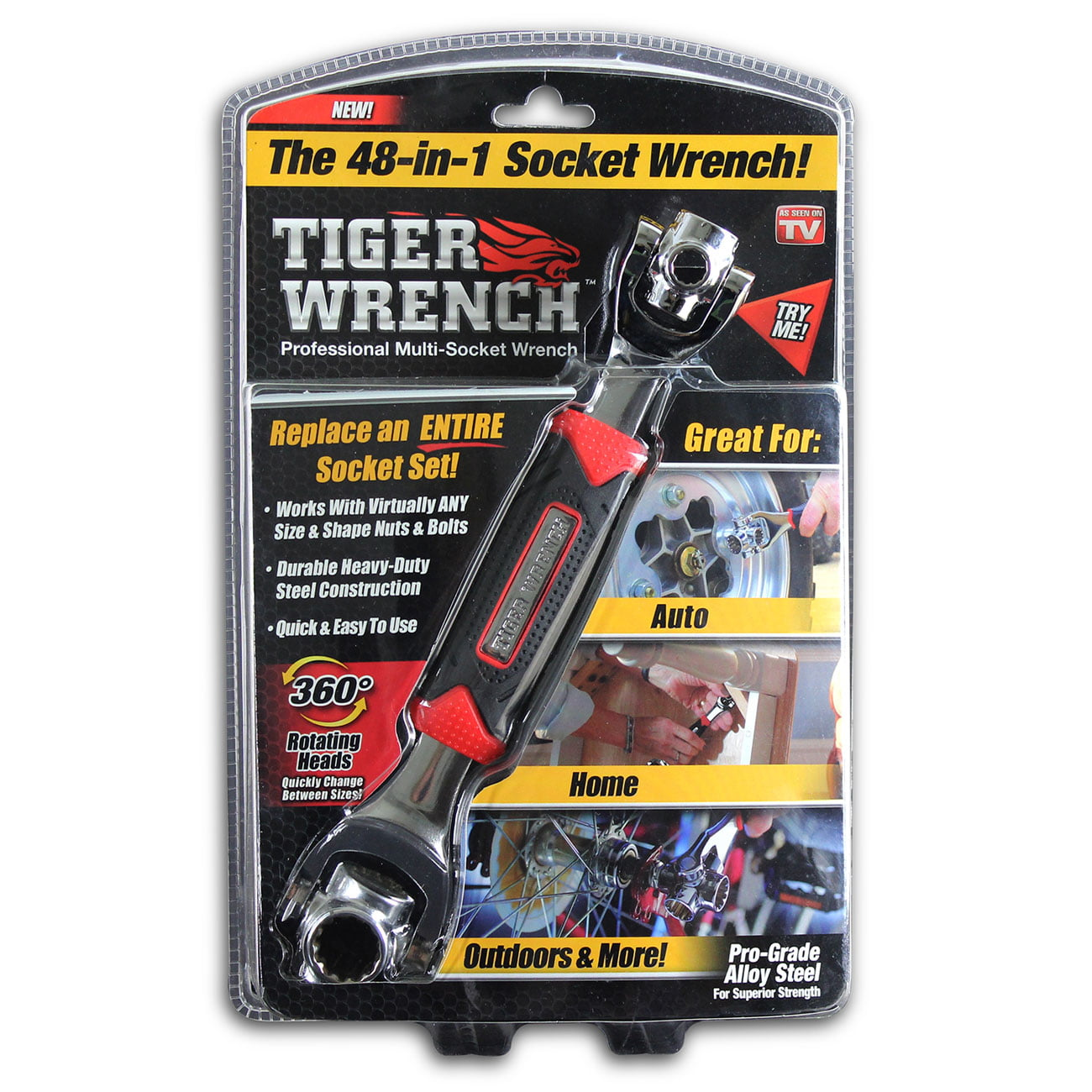 Tiger Wrench, 48-in-1 Steel Socket Wrench with 360 Degree Rotating Heads, As Seen on TV