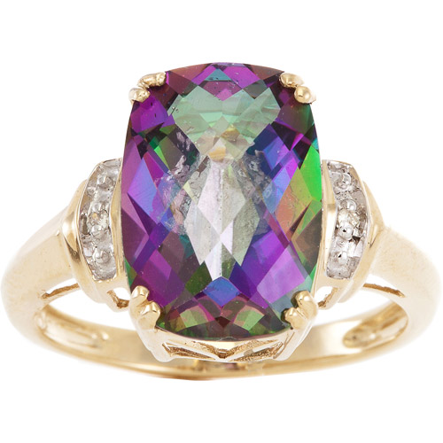 4 Carat T.G.W. Mystic Fire Topaz and Diamond Accent Ring in 10kt Yellow Gold