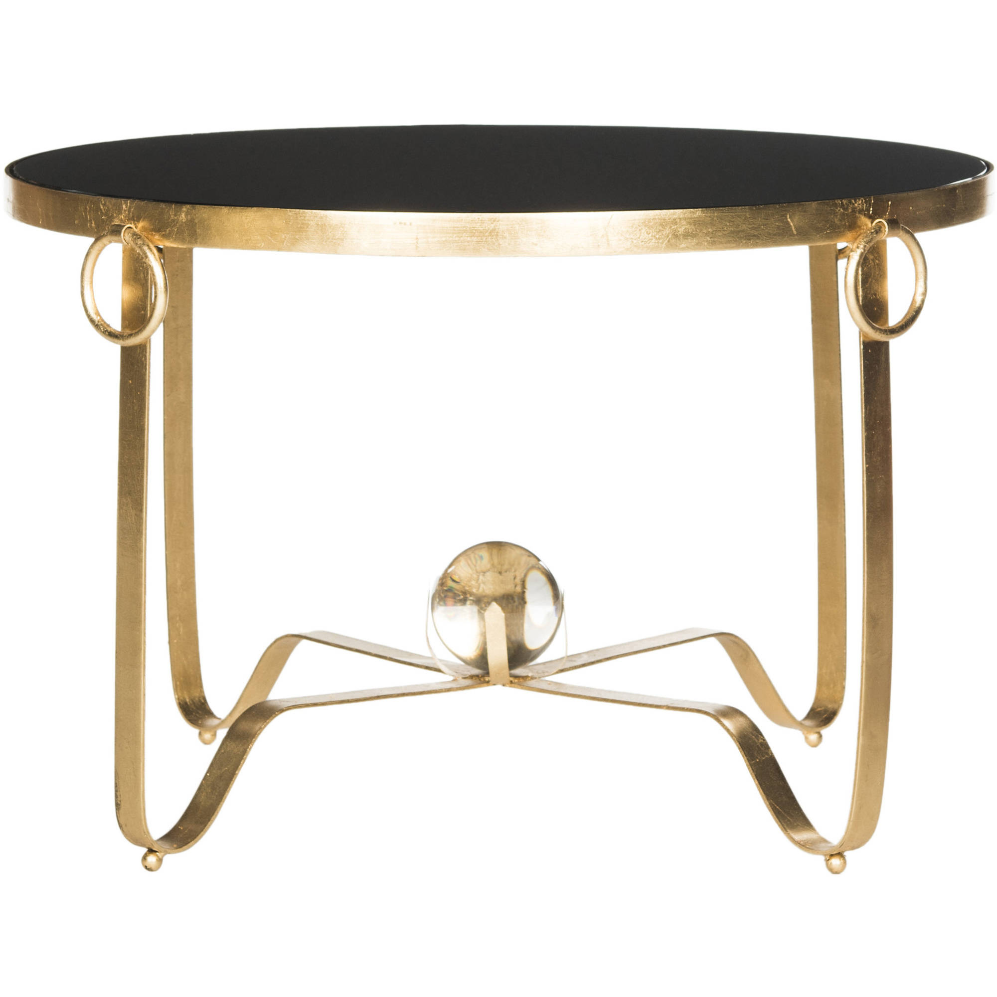"Safavieh Elisha 28"" Round Coffee Table with Glass Ball, Gold Leaf"