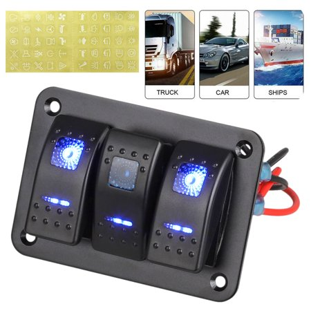 TSV Waterproof 3 Gang Marine Boat Rocker Switch Panel with Circuit Breaker Overload Protection and LED Rocker Indicator for 12V-24V Vehicles RV Car Truck Trailer