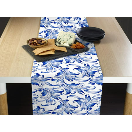 Blue Traditional Leaves Table Runner 14
