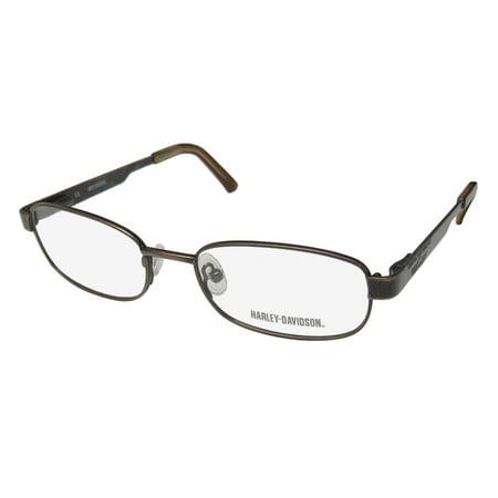 New Harley-Davidson Hdt 111 Mens/Womens Designer Full-Rim Brushed Brown Ophthalmic Fashion Accessory Frame Demo Lenses 48-16-130 Spring Hinges Eyeglasses/Eye Glasses