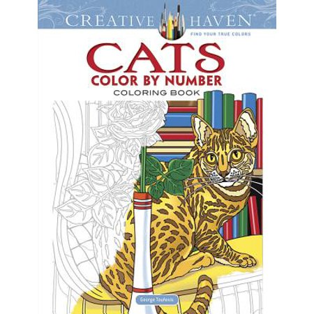 Creative Haven Cats Color by Number Coloring Book (Coloring Page Of A Halloween Cat)
