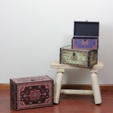 Set Of 3 Oriental Style Red Brown And Cream Earth Tones Decorative Wooden Storage Boxes 17 25