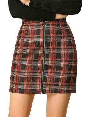 Women's Check Zip Front Slim Fit High Waist Plaid Mini Skirt XS Red