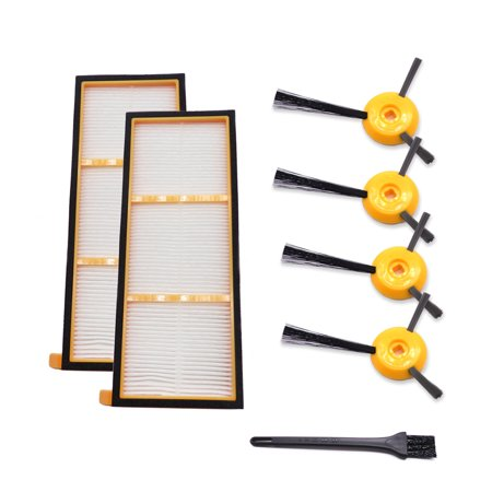 Cleaning Station Filters (Vacuum Cleaner Parts 4PCS Side Brushes 2PCS HEPA Filter and 1 Cleaning Tool for Shark ION Robot RV700 RV720 RV750 RV750C)