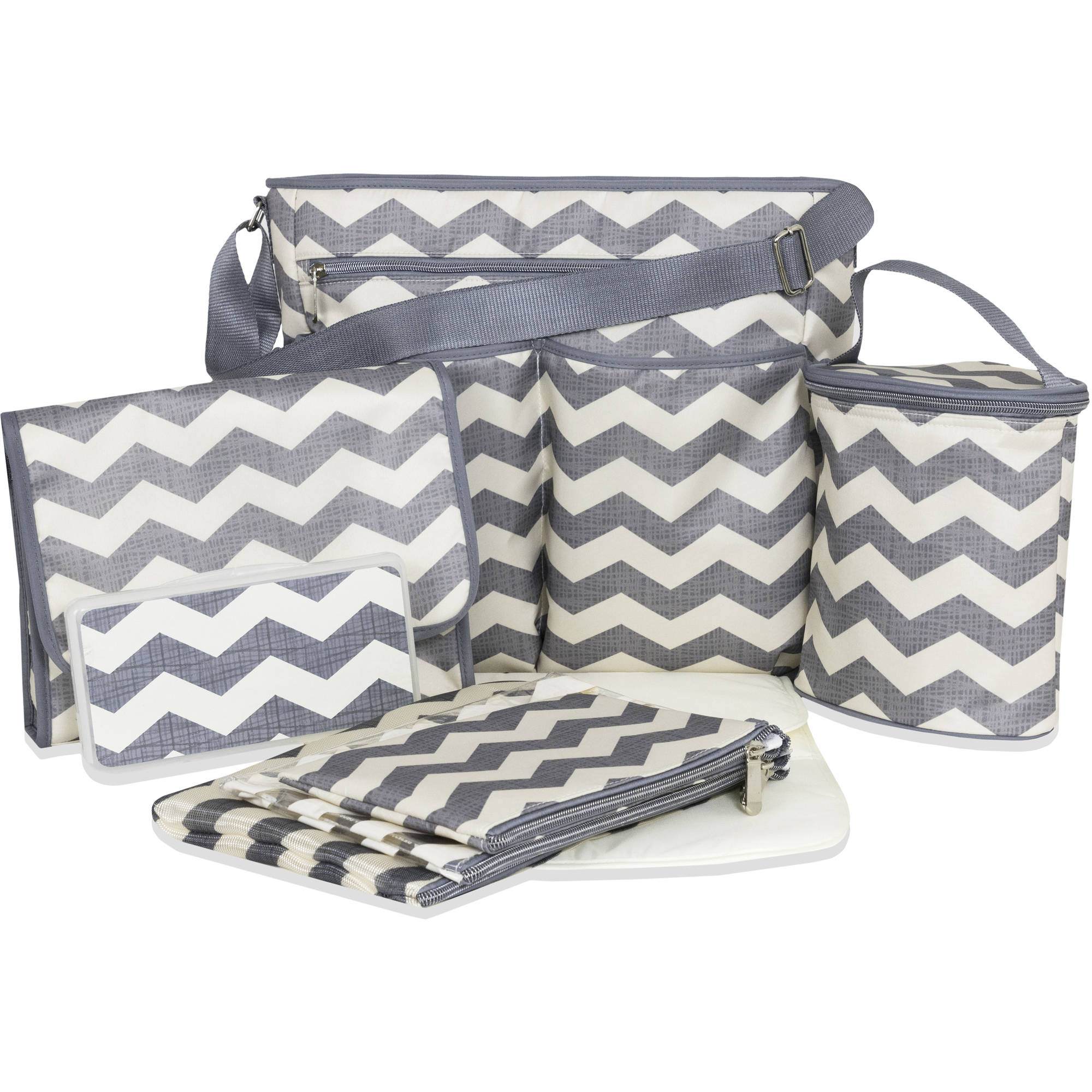 Tender Kisses Gray Chevron 8-Piece Diaper Bag Super Set