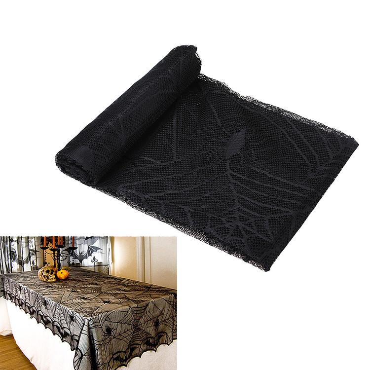 "96 x 48"" Halloween Tablecloth Spider Web Black Lace Festival Decoration, Black"