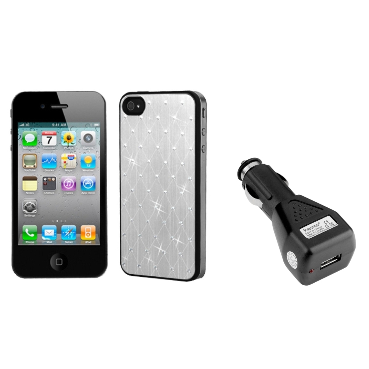 Insten Silver Studded Back Plate Cover (Black Sides) For iPhone 4 / 4S+USB Car Charger
