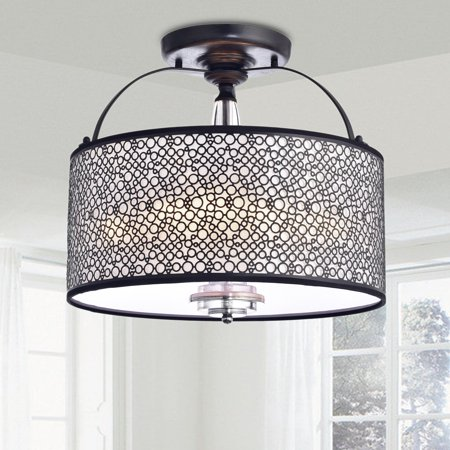 Brick Flush (The Lighting Store Amalia Antique Black Finish Metal Drum Shade Flush Mount)