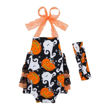 StylesILove Newborn Baby Girl Backless Halter Ruffle Romper with Headband 2 pcs Halloween Costume Outfit Set (66/Newborn)