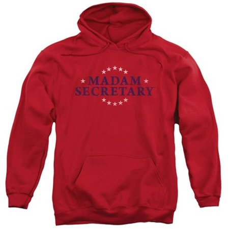 Trevco Madam Secretary Distress Logo   Adult Pull Over Hoodie   Red  Large