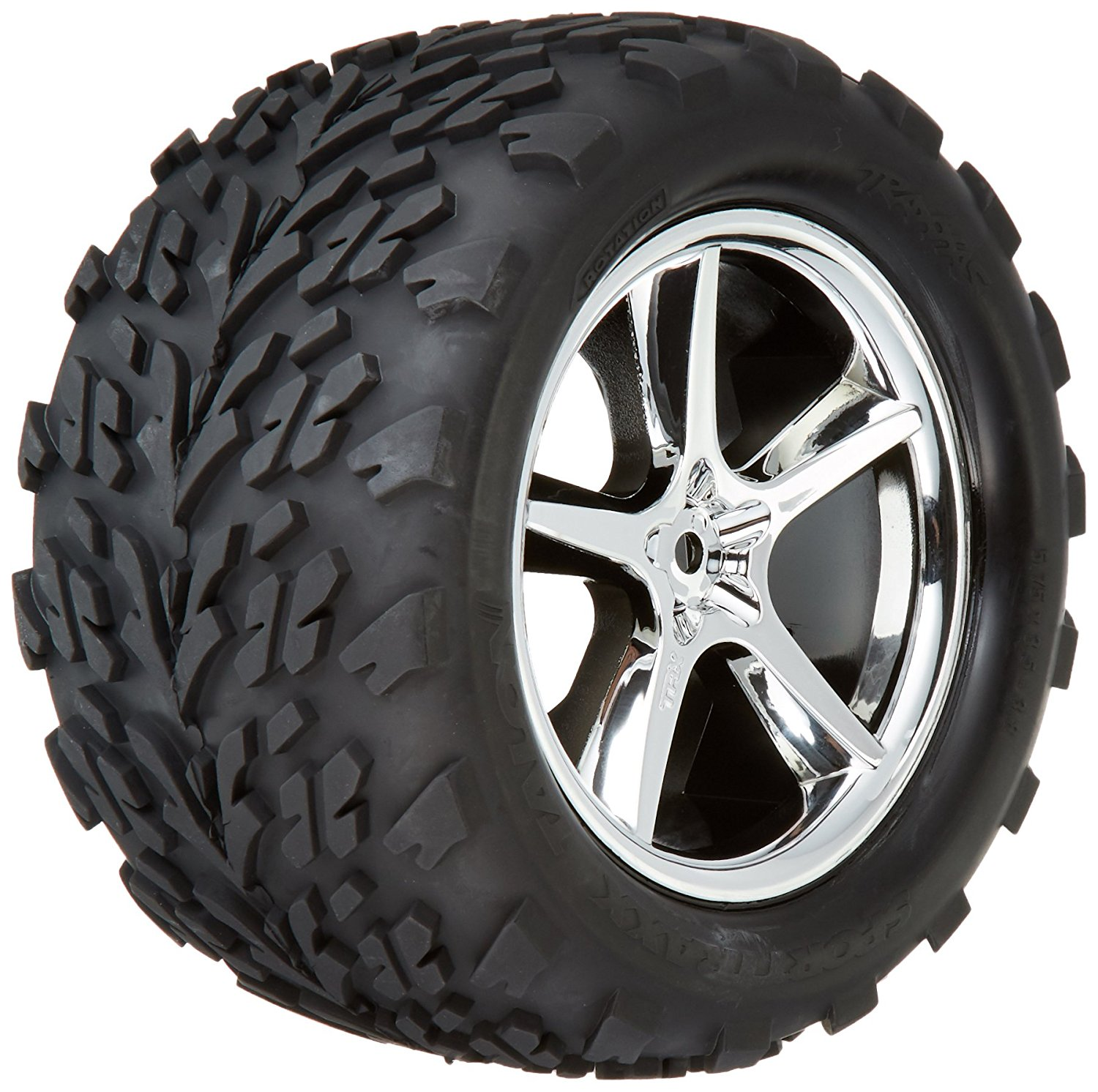 5374 Talon Tires Pre-Glued on Gemini Chrome Wheels (pair), The number one selling name ins... by Traxxas