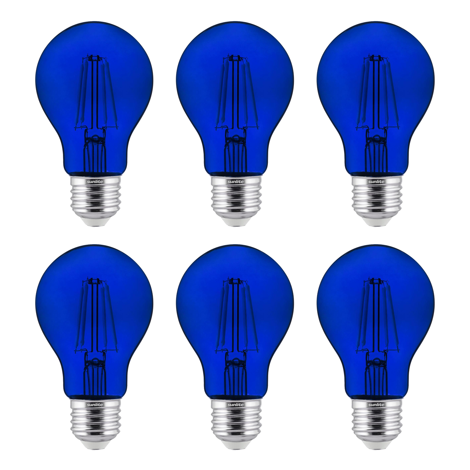 6-Pack Sunlite LED Transparent Blue A19 Filament Bulbs, 4.5 Watts, Dimmable, UL Listed