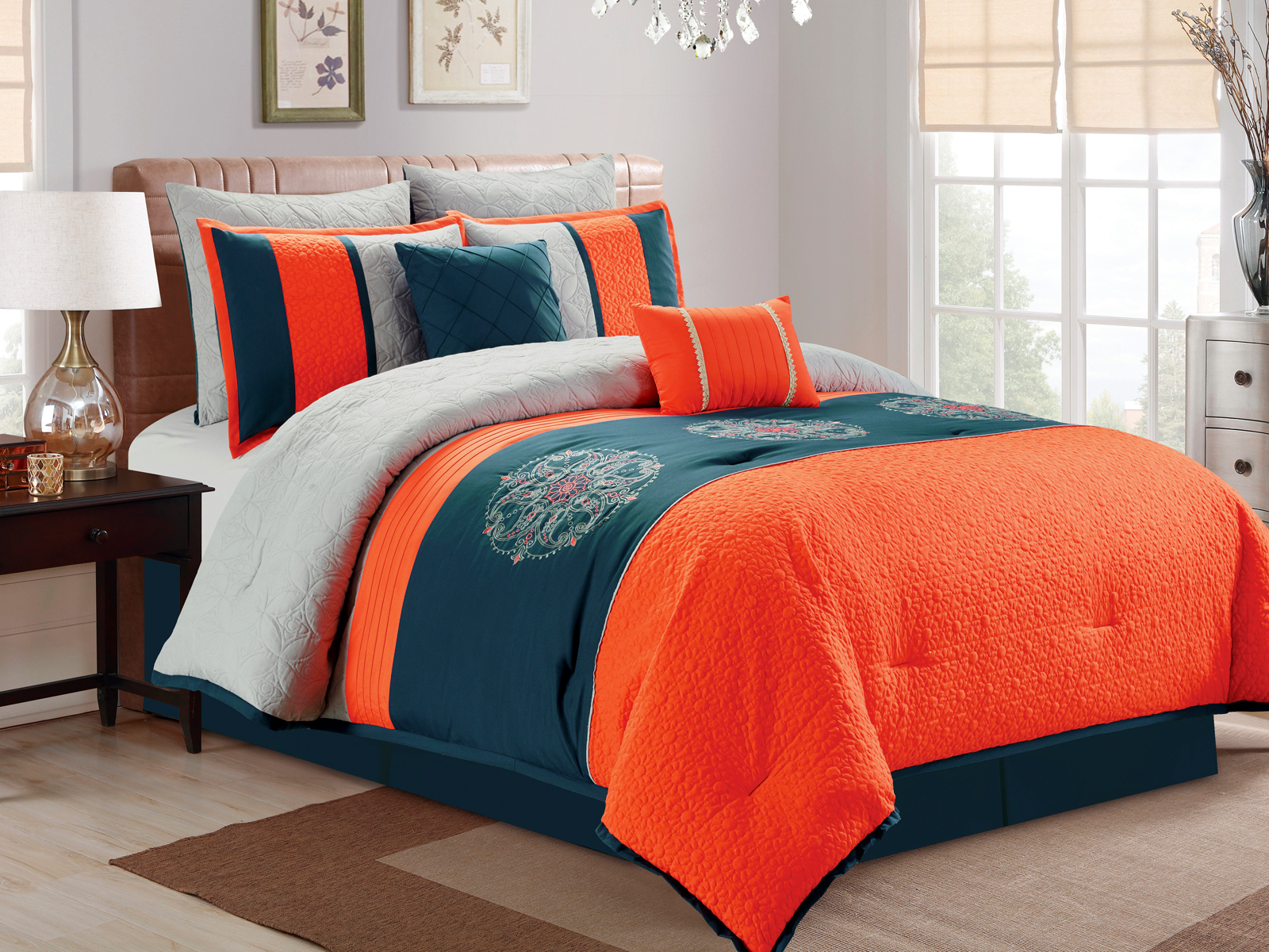 7 Pc Paisley Floral Medallion Embroidery Quilted Embossed Comforter Set Orange Blue Sliver Queen Walmart Com Walmart Com