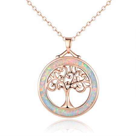 18K Rose Gold Plating & White Fire Opal Tree Of Life Pendant Necklace