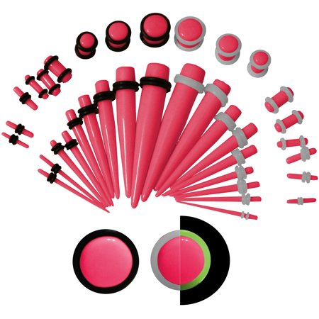 36 PC Set Ear Stretching Tapers Plugs Starter Kit 00g to 14 G Pink Glow ()