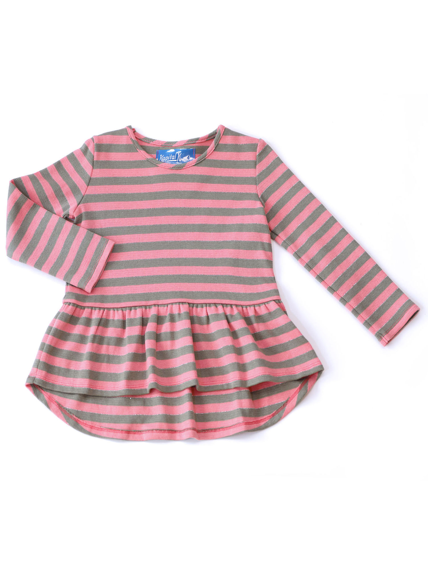 Kapital K Long Sleeve Striped Swing Top (Baby Girls and Toddler Girls)