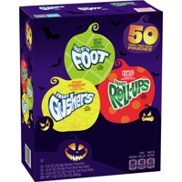 Halloween Gushers, Fruit Roll-Ups, Fruit by the Foot, Variety Pack, 50 Ct