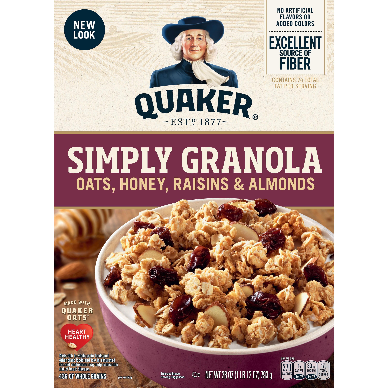 Quaker Simply Granola, Oats, Honey, Raisins & Almonds, 28