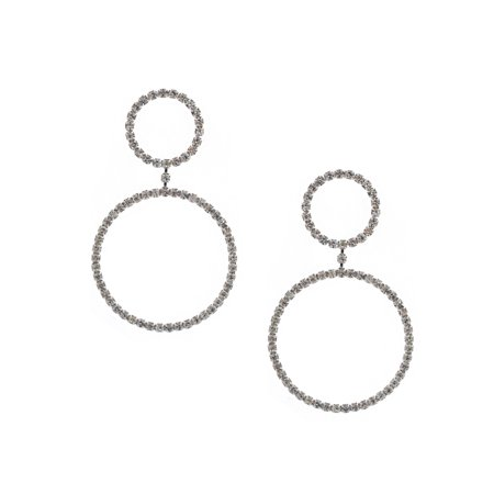 Large Circle Earrings (Wedding Earrings Silver Crystal Rhinestone Medium and Large Circles Dangle)