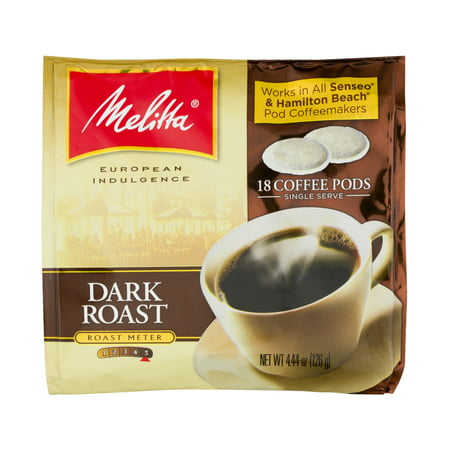 (2 Pack) Melitta® Dark Roast Coffee Pods for Senseo & Hamilton Beach Pod Brewers 18 ct Bag