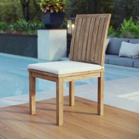 Modway Marina Outdoor Patio Teak Dining Side Chair in Natural White