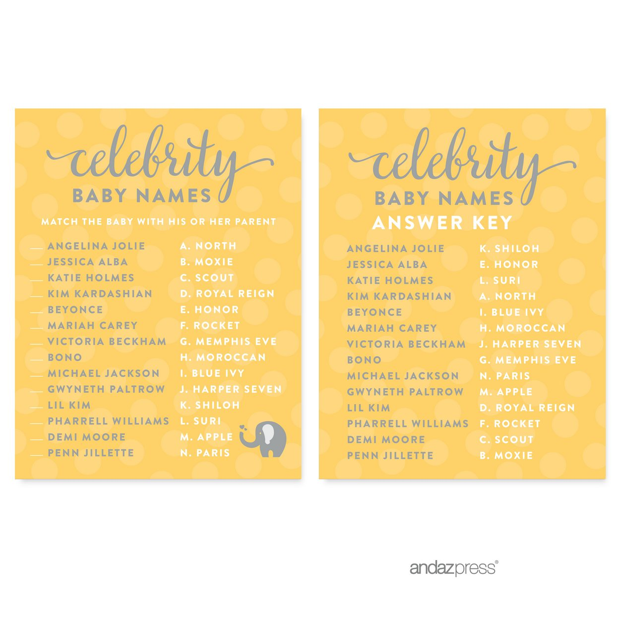 Celebrity Name Game Yellow Gender Neutral Elephant Baby Shower Games, 20-Pack