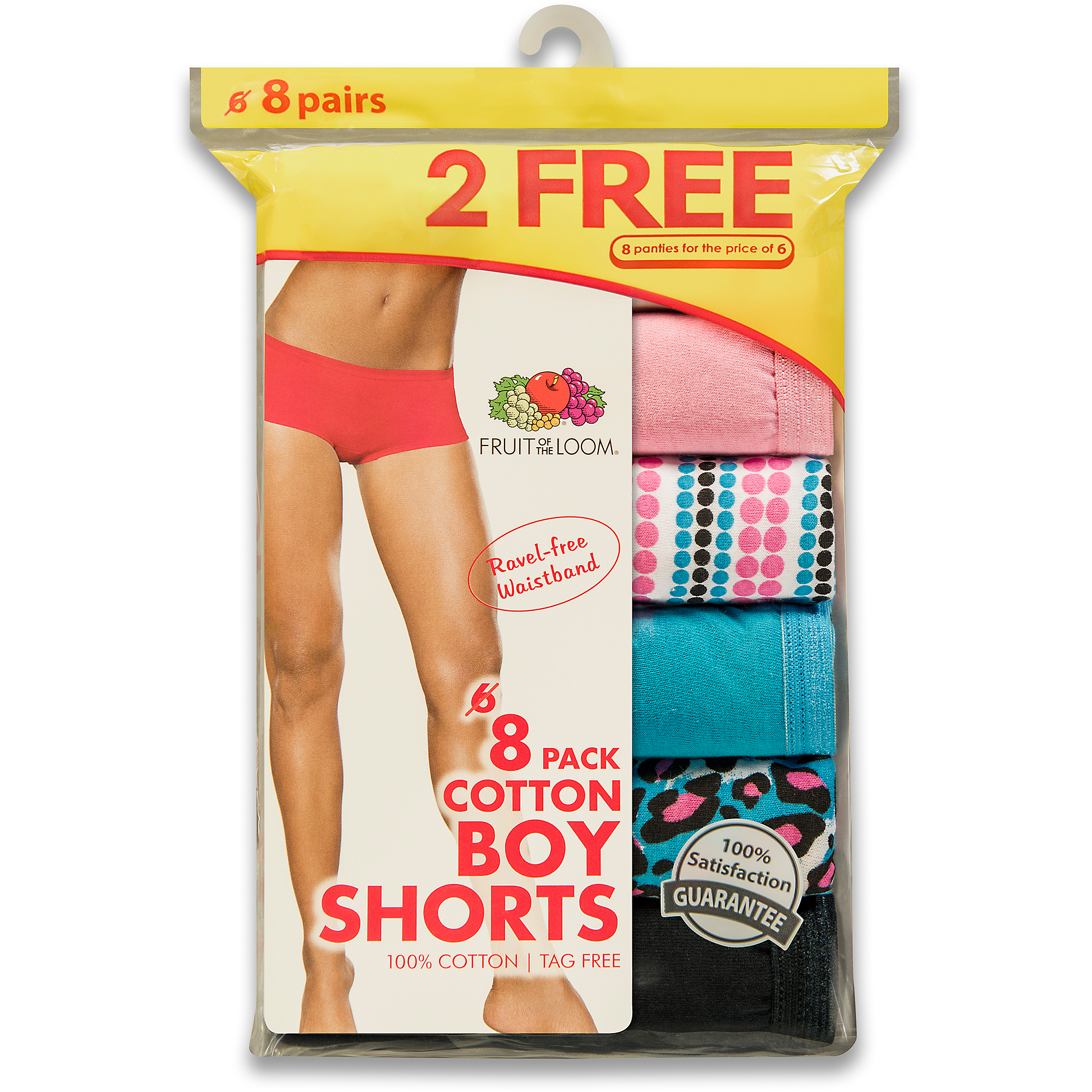 Fruit of the Loom Ladies' Cotton Boy Shorts 6+2 Bonus Pack