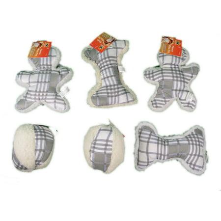 Gray Plaid Fleece Dog Toys Set of 6 With Squeaker Soft Plush Dog Fleece Plush Toy
