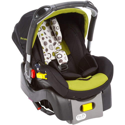 The First Years- Via Infant Car Seat, Abstract O's, Green and Black
