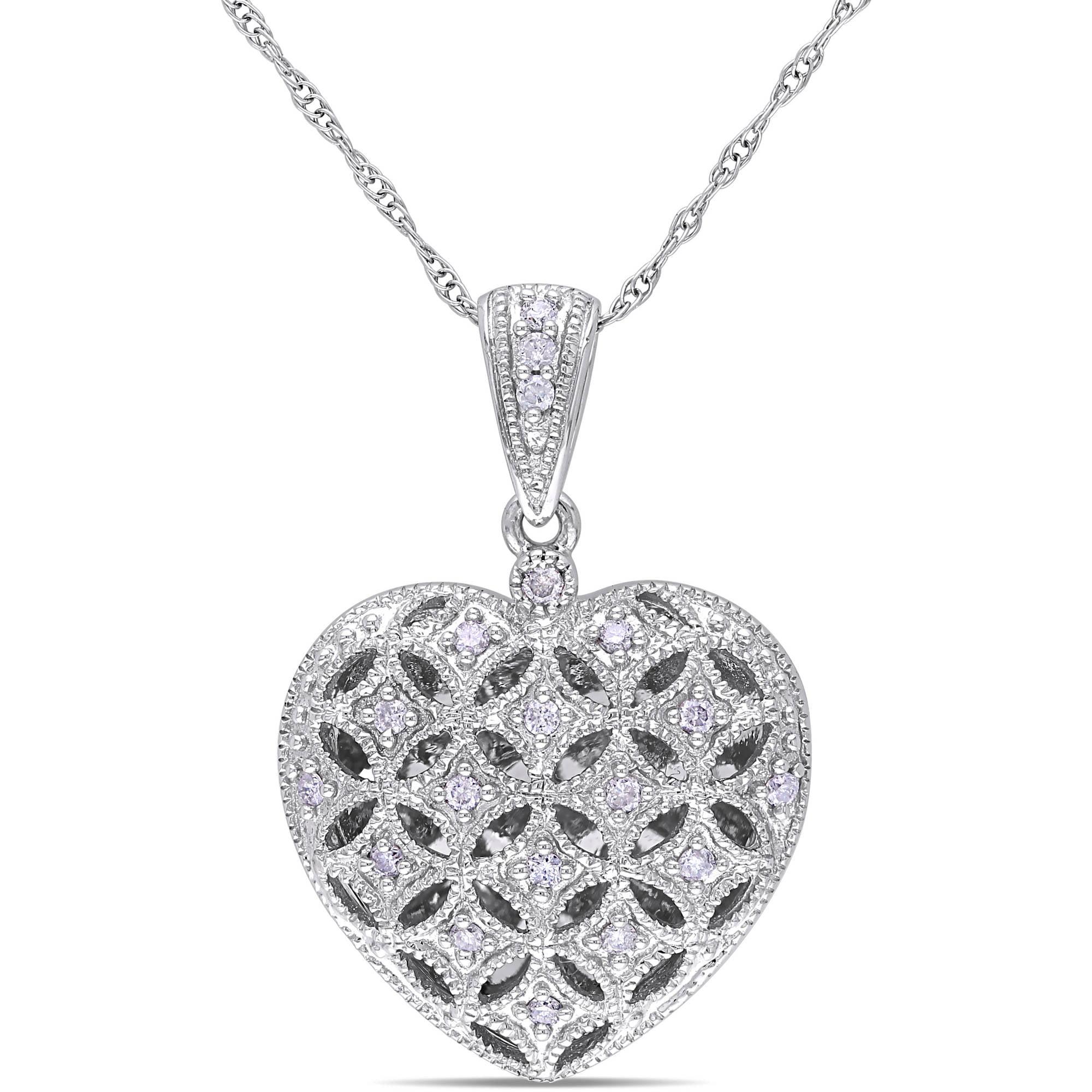 "Miabella 1 7 Carat T.W. Diamond 10kt White Gold Heart Locket Pendant, 17"" by Delmar Manufacturing LLC"
