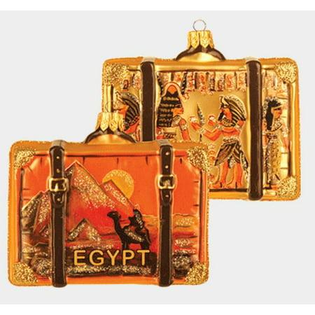 Polish Decorations (Egypt Travel Suitcase Polish Blown Glass Christmas Ornament Giza ONE)