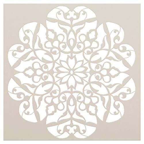 """Mandala - Flower Swirls - Complete Stencil by StudioR12   Reusable Mylar Template   Use to Paint Wood Signs - Pallets - Pillows - Wall Art - Floor Tile - Select Size (12"""" x 12"""")"""