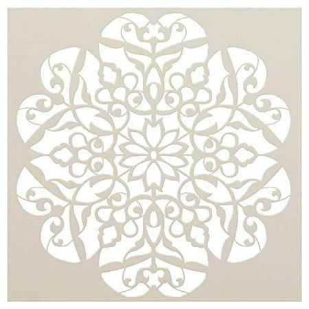 Mandala - Flower Swirls - Complete Stencil by StudioR12 | Reusable Mylar Template | Use to Paint Wood Signs - Pallets - Pillows - Wall Art - Floor Tile - Select Size (12