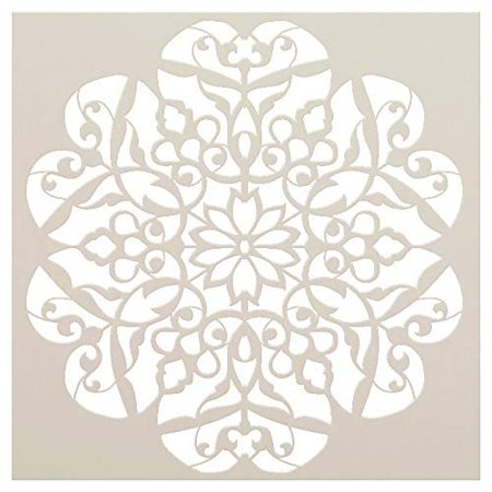 Mandala - Flower Swirls - Complete Stencil by StudioR12 | Reusable Mylar Template | Use to Paint Wood Signs - Pallets - Pillows - Wall Art - Floor Tile - -